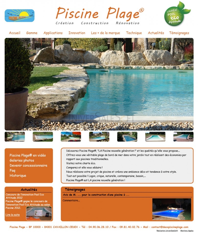 Cr ation du site internet pour piscine plage constructeur for Constructeur piscine 06